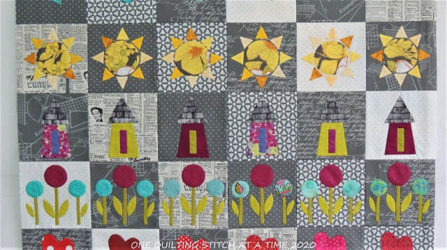 Row Quilt Top close